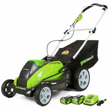 GreenWorks 25223 G-MAX 40V 19-Inch Cordless Lawn Mower Batteries and Charger Included