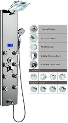 "Blue Ocean 52"" Aluminum SPA392M Shower Panel"
