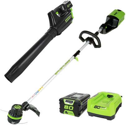 Greenworks PRO 80V Cordless Brushless String Trimmer + Leaf Blower Combo